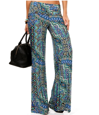 Blue/Green Mix Print Palazzo Pants