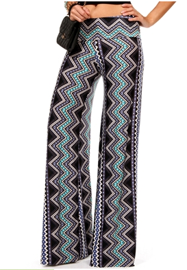 Blue Chevron Tribal Palazzo Pants