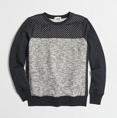 JCrew Factory Mixed Media Sweatshirt