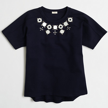 JCrew Factory Structured Necklace Tee in Airy Cotton