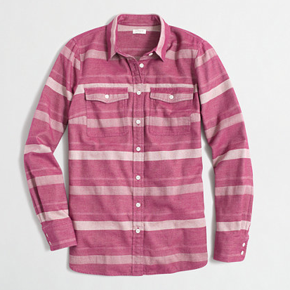 JCrew Factory Striped Flannel Shirt