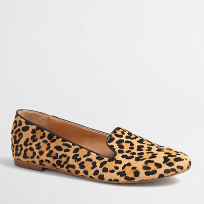 JCrew Factory Leopard Calf Hair Cora Loafers